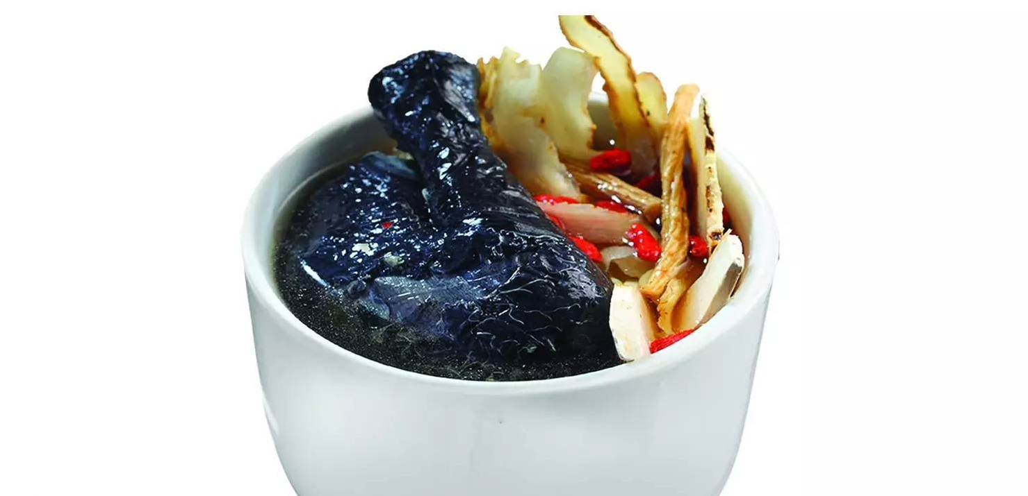 One dish made form black chicken meat is Black Chicken Herbal Soup
