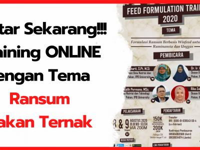 Daftar Sekarang Juga!!! Training Online Pembahasan Tentang Ransum Pakan Ternak Ruminansia dan Unggas